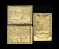 Colonial Notes:Rhode Island, Rhode Island July 2, 1780 $1; $2 About New, missing corner tip;New. Rhode Island May 1786 £3 XF.. Three bright notes i... (Total:3 notes)