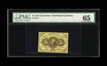 Fractional Currency:First Issue, Fr. 1231 5c First Issue PMG Gem Uncirculated 65. A lovely exampleof this truly scarce straight-edge no-monogram Five Cent n...