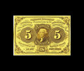 Fractional Currency:First Issue, Fr. 1231 5c First Issue Very Choice New. This note is close to thefull Gem grade, and this is the scarcest of the four Five...