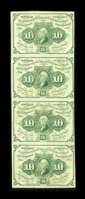 Fractional Currency:First Issue, Fr. 1242 10c First Issue Vertical Strip of Four About New. A lovely vertical strip of four which is bright and colorful with... (Total: 4 notes)