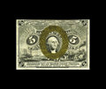 Fractional Currency:Second Issue, Fr. 1235 5c Second Issue New. This is an elusive fiber paper note with this example exhibiting distinct surcharges, reflecti...