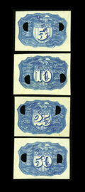 Fractional Currency:Second Issue, Negative Essay Denomination Set in Blue Milton 2E5R.2c, 2E10R.5c,2E25R.1b, 2E50R.1e. From our O'Mara sale, where the descri...(Total: 4 notes)