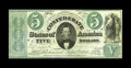 """Confederate Notes:1861 Issues, T33 $5 1861. This Fine-Very Fine example has a pencilled """"36"""" on the back plus a couple of small repairs. This is a toug..."""