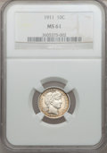 Barber Dimes: , 1911 10C MS61 NGC. NGC Census: (36/701). PCGS Population (20/840).Mintage: 18,870,544. Numismedia Wsl. Price for problem f...