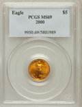 Modern Bullion Coins: , 2000 G$5 Tenth-Ounce Gold Eagle MS69 PCGS. PCGS Population(2713/27). NGC Census: (7170/7183). Numismedia Wsl. Price for p...