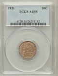 Bust Dimes: , 1831 10C AU55 PCGS. PCGS Population (25/160). NGC Census: (19/220). Mintage: 771,350. Numismedia Wsl. Price for problem fre...