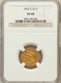 Liberty Quarter Eagles, 1852-C $2 1/2 XF40 NGC. Variety 1....