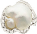 Estate Jewelry:Rings, Freshwater Cultured Pearl, Diamond, Platinum Ring. ...