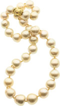 Estate Jewelry:Necklaces, Golden South Sea Cultured Pearl, Ruby, Gold Necklace. ...