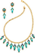 Estate Jewelry:Suites, Turquoise, Sapphire, Diamond, Gold Jewelry Suite. ...