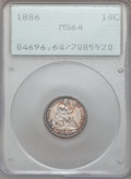 Seated Dimes: , 1886 10C MS64 PCGS. PCGS Population (130/109). NGC Census:(157/146). Mintage: 6,376,684. Numismedia Wsl. Price for problem...