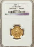 Three Dollar Gold Pieces: , 1857 $3 -- Improperly Cleaned -- NGC Details. AU. NGC Census:(34/477). PCGS Population (45/208). Mintage: 20,891. Numismed...