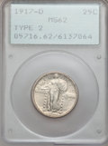 Standing Liberty Quarters: , 1917-D 25C Type Two MS62 PCGS. PCGS Population (66/312). NGCCensus: (61/229). Mintage: 6,224,400. Numismedia Wsl. Price fo...