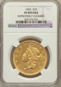 Liberty Double Eagles: , 1850 $20 -- Improperly Cleaned -- NGC Details. XF. NGC Census:(120/993). PCGS Population (119/589). Mintage: 1,170,261. Nu...
