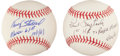 Autographs:Baseballs, Tracey Stallard, And Paul Foytack Roger Maris Inscription BaseballsLot Of 2....