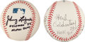 Autographs:Baseballs, Football Legends Single Signed Baseballs Lot Of 2....
