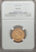 Liberty Half Eagles: , 1894-S $5 AU50 NGC. NGC Census: (26/136). PCGS Population (17/53).Mintage: 55,900. Numismedia Wsl. Price for problem free ...