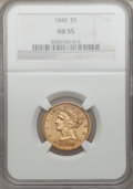 Liberty Half Eagles: , 1848 $5 AU55 NGC. NGC Census: (47/123). PCGS Population (32/42).Mintage: 260,775. Numismedia Wsl. Price for problem free N...
