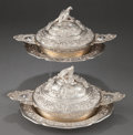 Silver Holloware, Continental:Holloware, A PAIR OF GIUSEPPE VERNONI PIEDMONTESE SILVER COVERED ECUELLES WITHUNDER PLATES. Giuseppe Vernoni, Turin, Italy, circa 1814... (Total:2 Items)