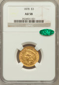 Three Dollar Gold Pieces: , 1878 $3 AU58 NGC. CAC. NGC Census: (1346/2931). PCGS Population(929/3411). Mintage: 82,304. Numismedia Wsl. Price for prob...