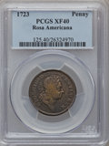 Colonials: , 1723 PENNY Rosa Americana Penny XF40 PCGS. PCGS Population (8/50).NGC Census: (2/17). (#125)...