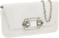 Luxury Accessories:Bags, Judith Leiber White Snakeskin Clutch with Large Stone and CrystalClosure. ...