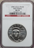 Modern Bullion Coins, 2006 $100 One-Ounce Platinum Eagle First Strike MS70 NGC. NGCCensus: (0). PCGS Population (27). Numismedia Wsl. Price for...