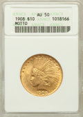 Indian Eagles: , 1908 $10 Motto AU50 ANACS. NGC Census: (16/4092). PCGS Population(38/3757). Mintage: 341,300. Numismedia Wsl. Price for pr...