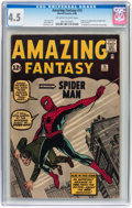 Silver Age (1956-1969):Superhero, Amazing Fantasy #15 (Marvel, 1962) CGC VG+ 4.5 Off-white to whitepages....