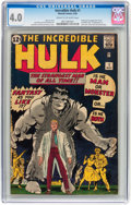Silver Age (1956-1969):Superhero, The Incredible Hulk #1 (Marvel, 1962) CGC VG 4.0 Cream to off-whitepages....