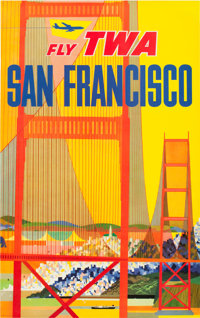 "David Klein TWA Airlines San Francisco Advertising Poster (TWA, 1958). Poster (25"" X 40"")"