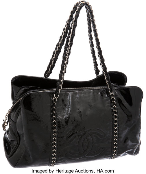 bc922ae7fd06 Chanel Black Patent Leather Large Modern Chain CC Tote Bag ...