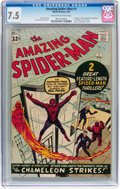 Silver Age (1956-1969):Superhero, The Amazing Spider-Man #1 (Marvel, 1963) CGC VF- 7.5 Off-white towhite pages....