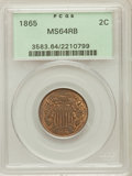 Two Cent Pieces: , 1865 2C MS64 Red and Brown PCGS. PCGS Population (596/280). NGCCensus: (667/808). Mintage: 13,640,000. Numismedia Wsl. Pri...