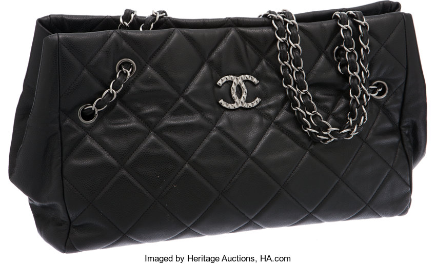 665ba82b0 Luxury Accessories:Bags, Chanel Large Black Caviar Leather Tote Bag with  Quilted Hardware.