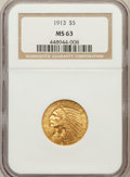 Indian Half Eagles: , 1913 $5 MS63 NGC. NGC Census: (1067/486). PCGS Population(1342/563). Mintage: 915,900. Numismedia Wsl. Price for problemf...