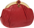 Luxury Accessories:Bags, Judith Leiber Red Lizard Clutch with Gold Frame and Red CabochonClosure. ...