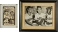 Baseball Collectibles:Photos, Mantle and DiMaggio Signed All-Time Greats Postcard and Paige Press Photo. ...