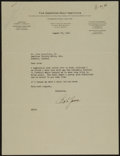 Golf Collectibles:Autographs, 1941 Bobby Jones Signed Typed Letter - Football Content. ...