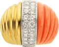 Estate Jewelry:Rings, Coral, Diamond, Platinum, Gold Ring, French. ...