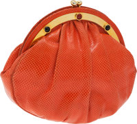 Judith Leiber Peach Lizard Clutch with Gold Frame and Cabochon Detail