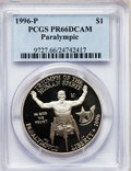 Modern Issues: , 1996-P $1 Olympic/Paralympics Silver Dollar PR66 Deep Cameo PCGS.PCGS Population (12/1555). NGC Census: (1/1194). Numisme...
