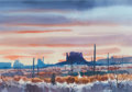 Western:20th Century, JADE FON (American, 1911-1983). Monument Valley, Arizona. Watercolor on paper. 15 x 21 inches (38.1 x 53.3 cm). Signed l...