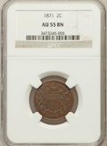 Two Cent Pieces: , 1871 2C AU55 NGC. NGC Census: (23/443). PCGS Population (34/187).Mintage: 721,100. Numismedia Wsl. Price for problem free ...