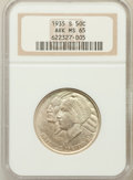 Commemorative Silver: , 1935-S 50C Arkansas MS65 NGC. NGC Census: (340/113). PCGSPopulation (411/178). Mintage: 5,506. Numismedia Wsl. Price forp...