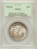 Walking Liberty Half Dollars: , 1936-D 50C MS64 PCGS. PCGS Population (1064/1396). NGC Census:(559/733). Mintage: 4,252,400. Numismedia Wsl. Price for pro...
