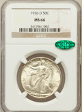 Walking Liberty Half Dollars: , 1936-D 50C MS66 NGC. CAC. NGC Census: (205/25). PCGS Population(343/22). Mintage: 4,252,400. Numismedia Wsl. Price for pro...