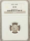 Bust Half Dimes: , 1833 H10C AU58 NGC. NGC Census: (81/371). PCGS Population (69/286).Mintage: 1,370,000. Numismedia Wsl. Price for problem f...