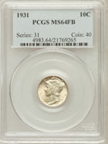 Mercury Dimes: , 1931 10C MS64 Full Bands PCGS. PCGS Population (148/179). NGCCensus: (41/67). Mintage: 3,150,000. Numismedia Wsl. Price fo...