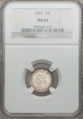 Seated Dimes: , 1862 10C MS64 NGC. NGC Census: (53/44). PCGS Population (42/30).Mintage: 847,000. Numismedia Wsl. Price for problem free N...